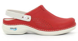 Nursing Care Machine Washable Work Shoes Leather, Red - Work shoes - 122681 - 1