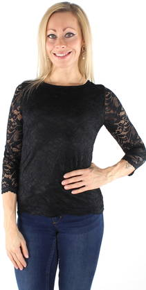 Vero Moda Lace Shirt Sandra 3/4, Black - Party tops and shirts - 122222 - 1