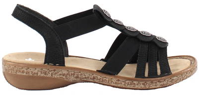 officiell butik detailing detaljerade bilder Rieker Sandals 62866-00, Black - Stilettoshop.eu webstore