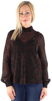 Vero Moda Shirt Malikka, Black/Wine Red - Long sleeved shirts - 121943 - 1