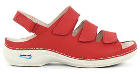 Nursing Care Machine Washable Work Shoes Leather, Red - Work shoes - 122665 - 1