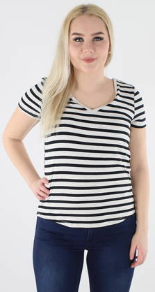 Vila T-shirt Collect grey/black striped - T-Shirts - 118525 - 1