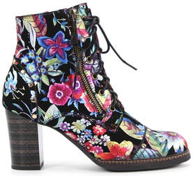 Laura Vita Ankle Boots Elea 078, Black/Flower - Ankle boots - 121968 - 1